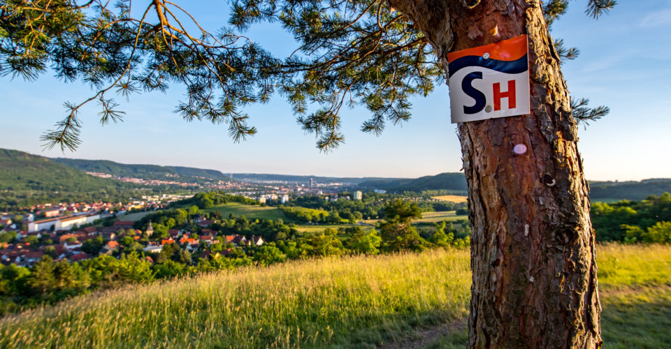 Saalehorizontale Jena, Wandern, Wegweiser